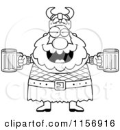 Cartoon Clipart Of A Black And White Chubby Drunk Viking Man Holding Beer Vector Outlined Coloring Page