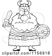 Cartoon Clipart Of A Black And White Chubby Mad Viking Man Holding A Sword And Shield Vector Outlined Coloring Page