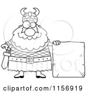 Cartoon Clipart Of A Black And White Chubby Viking Man With A Stone Sign Vector Outlined Coloring Page