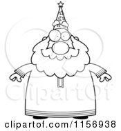Cartoon Clipart Of A Black And White Plump Old Wizard Facing Front Vector Outlined Coloring Page