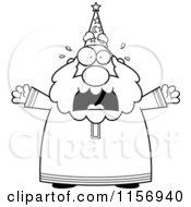 Cartoon Clipart Of A Black And White Plump Old Wizard Freaking Out Vector Outlined Coloring Page