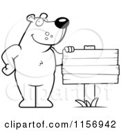 Cartoon Clipart Of A Black And White Friendly Bear Standing By A Blank Wood Sign Vector Outlined Coloring Page