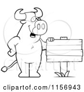Cartoon Clipart Of A Black And White Friendly Bull Standing By A Blank Wood Sign Vector Outlined Coloring Page