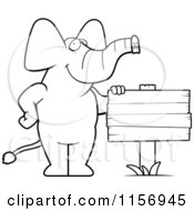 Cartoon Clipart Of A Black And White Elephant Standing Beside A Blank Wood Sign Vector Outlined Coloring Page
