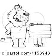 Cartoon Clipart Of A Black And White Friendly Lion Standing By A Blank Wood Sign Vector Outlined Coloring Page