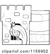 Cartoon Clipart Of A Black And White Rapunzel Looking Out Of A Tower Window Vector Outlined Coloring Page