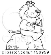 Cartoon Clipart Of A Black And White Lion Reading A Book On A Boulder Vector Outlined Coloring Page