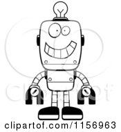 Cartoon Clipart Of A Black And White Happy Metal Robot With A Light Bulb Brain Vector Outlined Coloring Page
