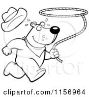 Cartoon Clipart Of A Black And White Rodeo Bear Running And Swinging A Lasso Vector Outlined Coloring Page