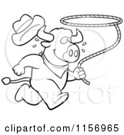 Cartoon Clipart Of A Black And White Rodeo Buffalo Running With A Lasso Vector Outlined Coloring Page