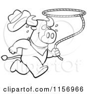 Cartoon Clipart Of A Black And White Running Rodeo Bull With A Lasso Vector Outlined Coloring Page by Cory Thoman