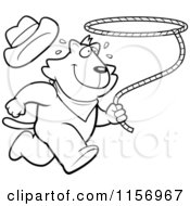 Cartoon Clipart Of A Black And White Rodeo Cat Running With A Lasso Vector Outlined Coloring Page by Cory Thoman