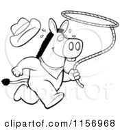 Cartoon Clipart Of A Black And White Rodeo Donkey Running With A Lasso Vector Outlined Coloring Page