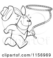 Cartoon Clipart Of A Black And White Rodeo Rabbit Running With A Lasso Vector Outlined Coloring Page