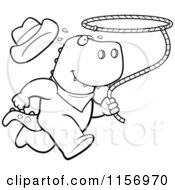 Cartoon Clipart Of A Black And White Rodeo T Rex Running With A Lasso Vector Outlined Coloring Page