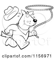 Cartoon Clipart Of A Black And White Rodeo Wolf Running With A Lasso Vector Outlined Coloring Page