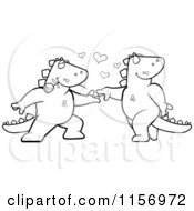 Cartoon Clipart Of A Black And White Romantic Dinosaur Couple Dancing Vector Outlined Coloring Page
