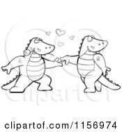 Cartoon Clipart Of A Black And White Romantic Alligator Pair Dancing Vector Outlined Coloring Page by Cory Thoman