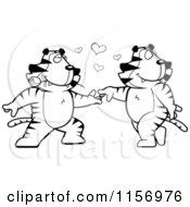 Cartoon Clipart Of A Black And White Romantic Tiger Couple Dancing Vector Outlined Coloring Page