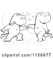 Cartoon Clipart Of A Black And White T Rex Pair Dancing Vector Outlined Coloring Page