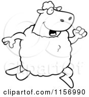 Cartoon Clipart Of A Black And White Sheep Running Upright Vector Outlined Coloring Page