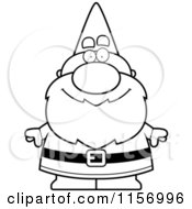 Cartoon Clipart Of A Black And White Gnome Vector Outlined Coloring Page by Cory Thoman
