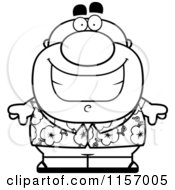 Cartoon Clipart Of A Black And White Chubby Tourist Wearing A Tropical Shirt Vector Outlined Coloring Page