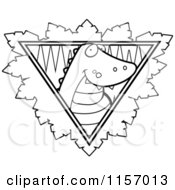 Cartoon Clipart Of A Black And White Safari Crocodile Logo Vector Outlined Coloring Page by Cory Thoman