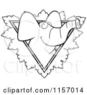 Cartoon Clipart Of A Black And White Elephant Face Over A Safari Triangle With Leaves Vector Outlined Coloring Page