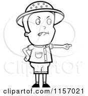 Cartoon Clipart Of A Black And White Mad Safari Boy Pointing Vector Outlined Coloring Page