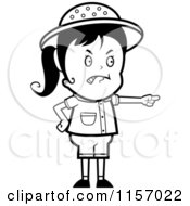 Cartoon Clipart Of A Black And White Mad Pointing Safari Girl Vector Outlined Coloring Page