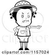 Cartoon Clipart Of A Black And White Mad Safari Girl Pointing Vector Outlined Coloring Page