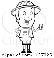 Cartoon Clipart Of A Black And White Safari Boy Holding A Cup Of Water Vector Outlined Coloring Page
