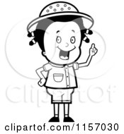 Cartoon Clipart Of A Black And White Smart Safari Girl Holding Up Her Finger And Expressing An Idea Vector Outlined Coloring Page