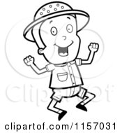 Cartoon Clipart Of A Black And White Safari Boy Jumping Vector Outlined Coloring Page