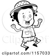 Cartoon Clipart Of A Black And White Safari Girl Jumping Vector Outlined Coloring Page