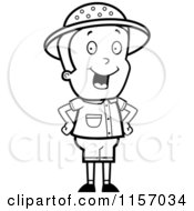 Cartoon Clipart Of A Black And White Energetic Safari Boy Standing With His Hands On His Hips Vector Outlined Coloring Page