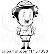 Cartoon Clipart Of A Black And White Happy Safari Girl With Her Hands On Her Hips Vector Outlined Coloring Page