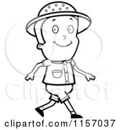 Cartoon Clipart Of A Black And White Safari Boy Walking Vector Outlined Coloring Page