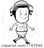 Cartoon Clipart Of A Black And White Happy Safari Girl Walking Vector Outlined Coloring Page