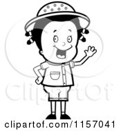 Cartoon Clipart Of A Black And White Waving Safari Girl Vector Outlined Coloring Page