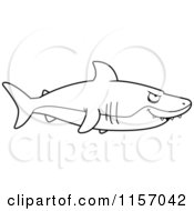 Cartoon Clipart Of A Black And White Shark In Profile Vector Outlined Coloring Page by Cory Thoman
