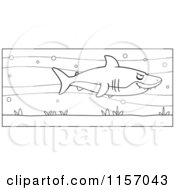 Cartoon Clipart Of A Black And White Shark In The Sea Vector Outlined Coloring Page by Cory Thoman