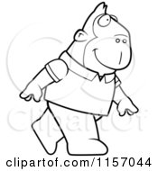 Cartoon Clipart Of A Black And White Ape Wearing A Shirt And Walking Upright Vector Outlined Coloring Page