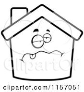 Cartoon Clipart Of A Black And White Sick Home Face Vector Outlined Coloring Page