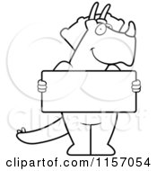 Cartoon Clipart Of A Black And White Friendly Triceratops Holding A Blank Sign Vector Outlined Coloring Page