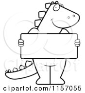 Cartoon Clipart Of A Black And White Dinosaur Standing Upright And Holding A Blank Sign Board Vector Outlined Coloring Page
