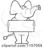 Cartoon Clipart Of A Black And White Elephant Holding A Sign Vector Outlined Coloring Page