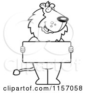 Cartoon Clipart Of A Black And White Lion Holding A Sign Vector Outlined Coloring Page