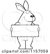 Cartoon Clipart Of A Black And White Rabbit Standing Upright And Holding A Blank Sign Board Vector Outlined Coloring Page